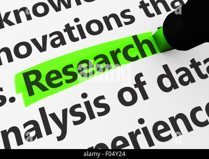 Research concept with a 3d render of related words and research text highlighted with a green marker. - Stock Photo