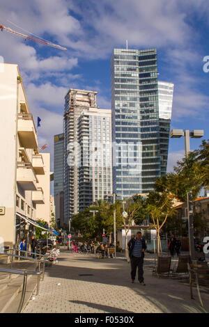 Tel Aviv, Israel- December 20, 2014: Old Renovated and modern Buildings in Rotshild Boulevard Of Tel Aviv. Israel - Stock Photo