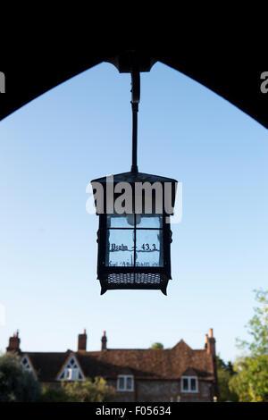 St Marys church lych gate lantern, Hambleden, Buckinghamshire, England - Stock Photo