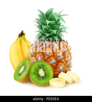 Tropical fruits (pineapple, banana, kiwi) over white background, with clipping path - Stock Photo