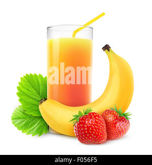 Strawberries and banana cocktail isolated on white - Stock Photo
