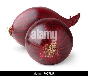 Red onions isolated on white - Stock Photo
