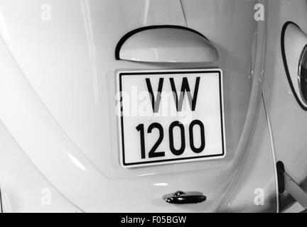 transport / transportation, car, vehicle variants, Volkswagen, VW Beetle 1200, details, number plate at rear, above - Stock Photo