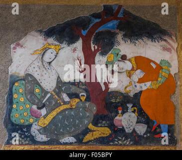 painting in main hall, Chehel Sutun Palace, Isfahan, Iran - Stock Photo