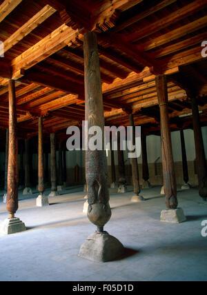 Khiva Uzbekistan Itchan Kala Walled Inner Town UNESCO World Heritage Site Juma Mosque Interior With Wooden Columns - Stock Photo