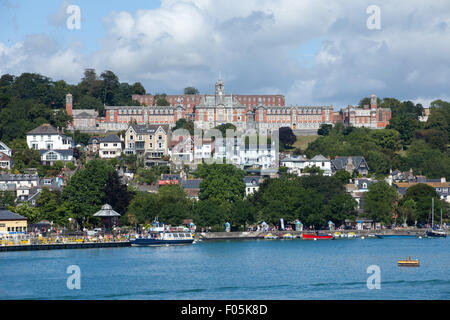 The Royal Naval College, Dartmouth, viewed across the River Dart from the Kinsgwear side - Stock Photo
