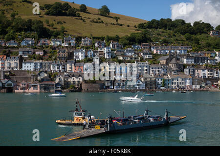 Lower ferrys in operation on the River Dart, looking towards Dartmouth from the Kingswear side - Stock Photo