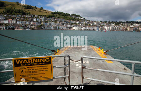 View of Dartmouth from the Lower Ferry, crossing from Kingswear towards Dartmouth - Stock Photo