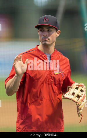 Milwaukee, WI, USA. 07th Aug, 2015. St. Louis Cardinals left fielder Randal Grichuk #15 prior to the start of the - Stock Photo