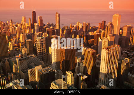 DOWNTOWN LOOP SKYLINE CHICAGO ILLINOIS USA - Stock Photo
