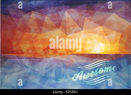 Polygonal seaside view sammer poster - Stock Photo