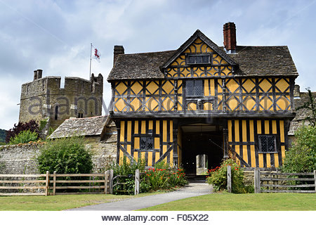 Stokesay Castle, medieval fortified manor house, Craven Arms, 13th century, Shropshire, England, United Kingdom, - Stock Photo