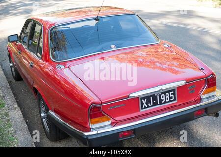 series 3 1985 classic red XJ6 jaguar 4 door saloon car in new south wales,australia - Stock Photo
