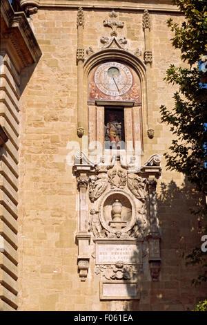 France, Bouches du Rhone, Aix en Provence, Clock Tower - Stock Photo