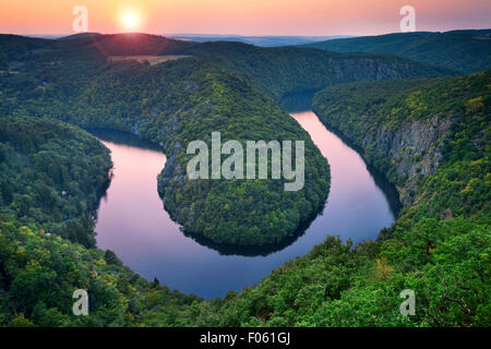 River Bend. Beautiful meander of Vltava river in Czech Republic during summer sunset. - Stock Photo