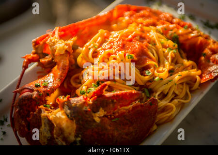 Lobster linguine - Stock Photo