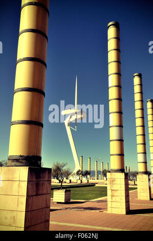 Olympic Ring. Hill of Montjuïc.  Palau Sant Jordi, telecommunications tower by Santiago Calatrava, - Stock Photo