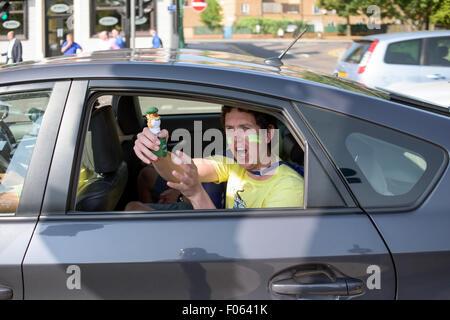 Trent Bridge, Nottingham, UK. 8th Aug, 2015.England and Australian cricket fans arriving at Trent Bridge ahead of - Stock Photo