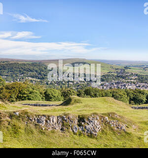 The Peak District town of Buxton from Grin Low and Buxton Country Park, Derbyshire, England - Stock Photo