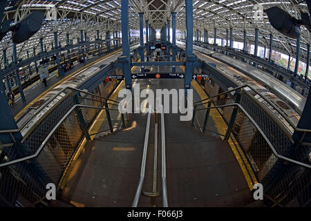 A fisheye lens view of the elevated, Stillwell Avenue station in Coney Island, Brooklyn, New York - Stock Photo