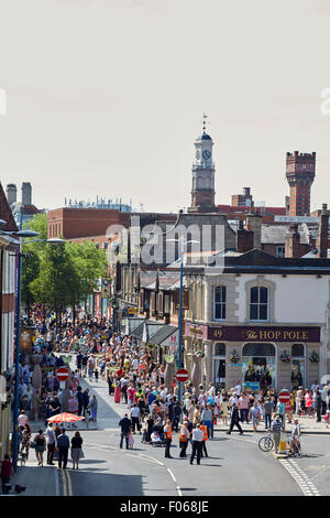 Warrington town centre in Cheshire, 49 Horsemarket street Hop Pole Restaurant   People crowds many crowded community - Stock Photo