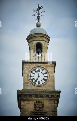 pretty historical architecture of Guildhall building Newcastle-undr-Lyne Staffordshire close up of the clock tower - Stock Photo