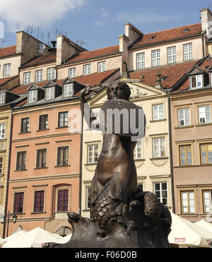 Blue sky portrait, towards townhouses on the east side of the square, Mermaid Statue, Old Town Market Place, Warsaw, - Stock Photo