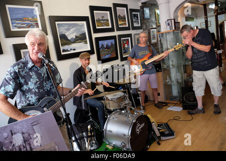Brecon, Powys, Wales, UK. 8th Aug, 2015. Live music among the art inside the Ardent Gallery in Brecon town centre - Stock Photo