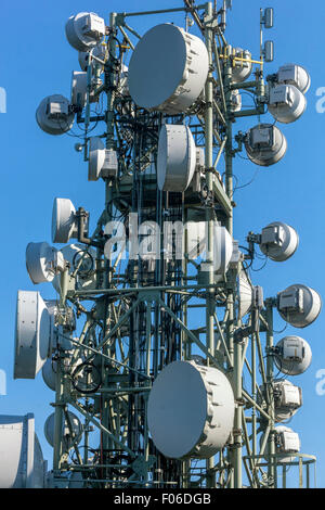 Telecommunications antennas on the mast, Czech Republic - Stock Photo