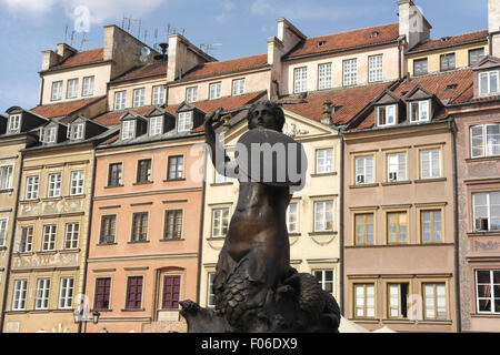 Blue sky view, towards townhouses on the east side of the square, Mermaid Statue, Old Town Market Place, Warsaw, - Stock Photo