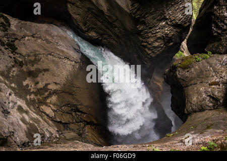The Trümmelbach Falls (Trümmelbachfälle) in Switzerland. - Stock Photo