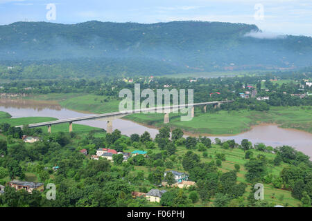 Beautiful himachal pradesh India Scenic view of small villages on the sutlej river valley Himalayas mountains landscape - Stock Photo