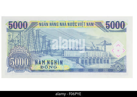 Five thousand vietnamese Dong banknote on a white background - Stock Photo