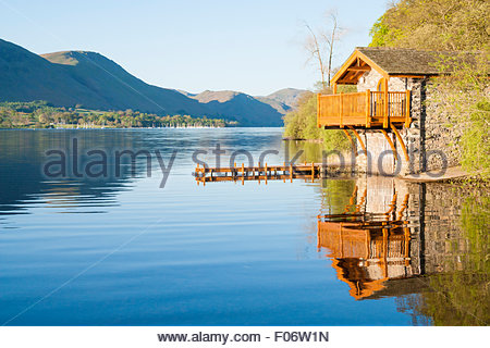 Boathouse near Pooley Bridge on Ullswater. Lake District National Park, Cumbria, England. UK - Stock Photo