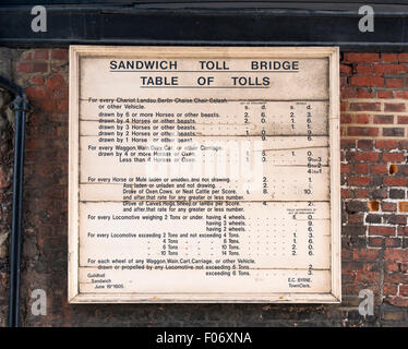 Sandwich toll bridge table of tolls from 1905 on the barbican over the river Stour - Stock Photo
