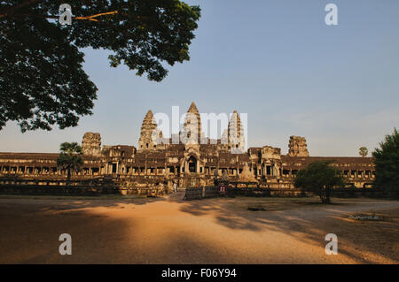 Beautiful view of the ruins of Angkor Wat in Cambodia - Stock Photo