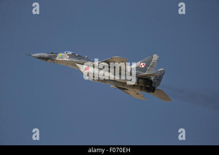 Polish Air force Mikoyan Mig-29 jet fighter at the 2015 Royal International Air Tattoo - Stock Photo