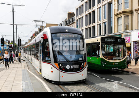 Edinburgh tram on Princes street, Edinburgh, Scotland, UK - Stock Photo