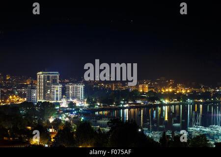 Night city Budva, Montenegro, Balkans - Stock Photo