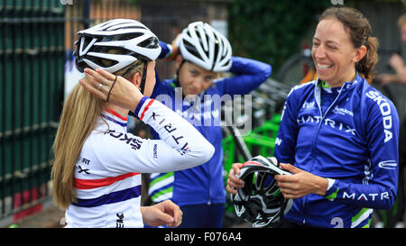 Laura Kenny (Laura Trott) (l), Kim Le Court (c) and Helen Wyman (r) before the final stage of the Aviva Women's - Stock Photo