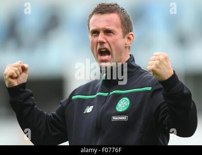 Glasgow, Scotland. 09th Aug, 2015. Ladbrokes Scottish Premiership. Partick Thistle versus Celtic. Ronnie Deila roars - Stock Photo