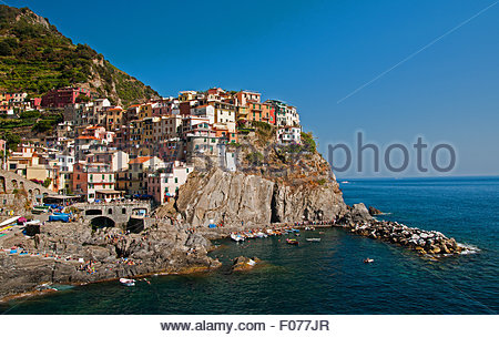 Panorama of Manarola, one of five towns in Cinque Terre, Liguria, Italy - Stock Photo