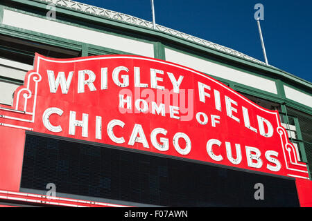 CHICAGO CUBS MAIN ENTRANCE MARQUEE WRIGLEY FIELD BASEBALL STADIUM (©ZACHARY TAYLOR DAVIS 1914) CHICAGO ILLINOIS - Stock Photo