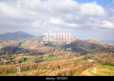 Autumn on the Malvern Hills from British Camp, Herfordshire, England, UK - Stock Photo