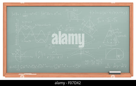 Green Chalkboard with wooden frame. Chalk dust surface and Sample Mathematics. - Stock Photo