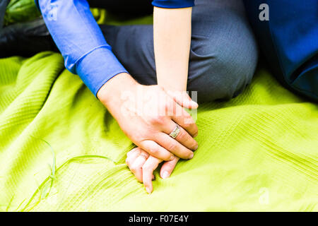 two pairs of hand touch - Stock Photo