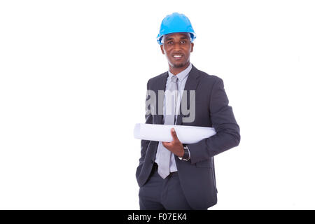 African American architect isolated on white background - black people - Stock Photo