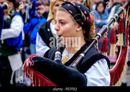 A piper from Banda De Gaitas Resping from Madrid, Spain at Pipefest 2015 in Edinburgh Scotland - Stock Photo