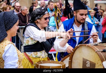 Drummers from Banda De Gaitas Resping from Madrid, Spain at Pipefest 2015 in Edinburgh Scotland - Stock Photo