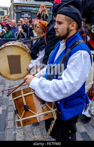 A drummer from Banda De Gaitas Resping from Madrid, Spain at Pipefest 2015 Edinburgh - Stock Photo